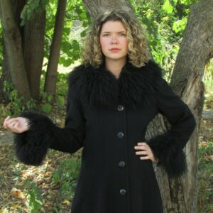 Vintage JULES MILLER Women Long Black Wool Swing Coat Curly Faux Fur Trim Size 8