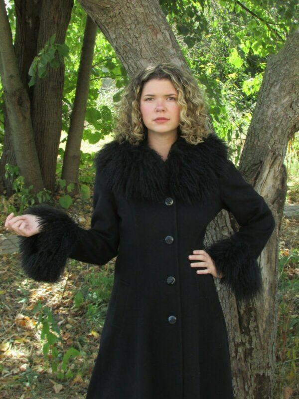 Vintage JULES MILLER Women Long Black Wool Swing Coat Curly Faux Fur Trim Size 8